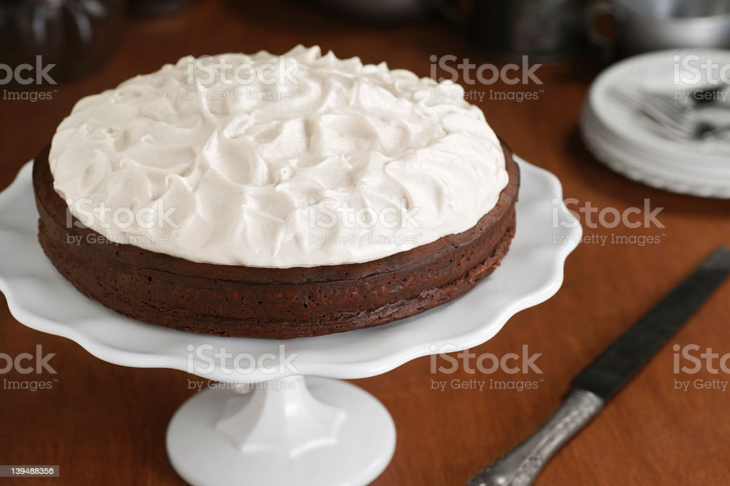 Flourless Chocolate Cake with Whipped Meringue Topping stock photo