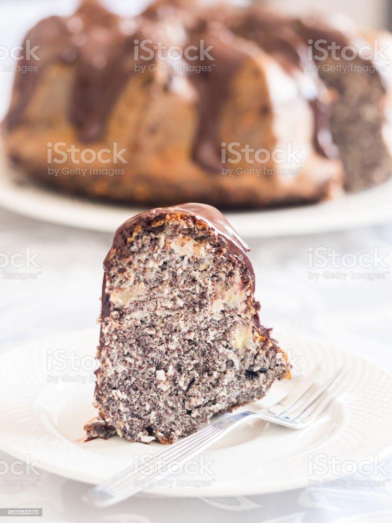 Flourless gluten and sugar free Easter gugelhupf cake stock photo