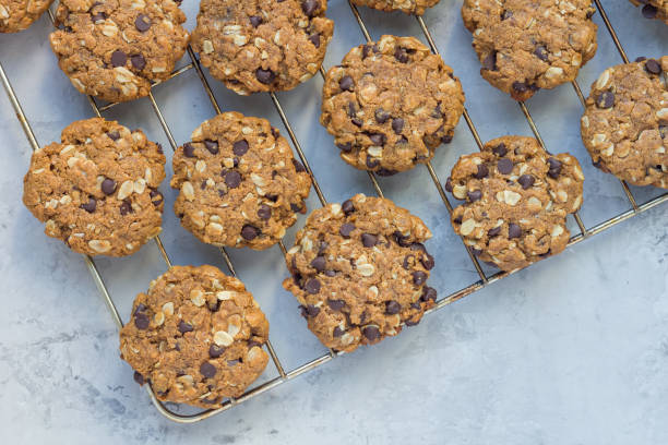 Flourless peanut butter, oatmeal and chocolate chips cookies, horizontal stock photo