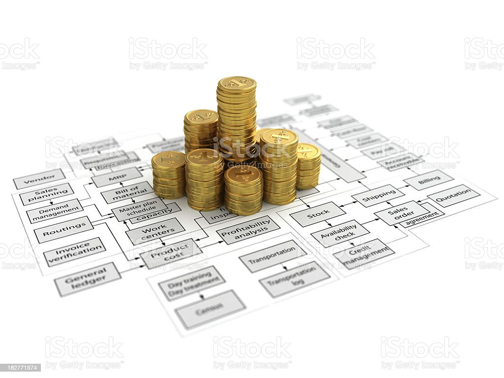 flow chart and coins royalty-free stock photo