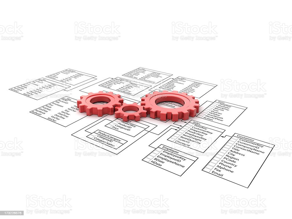 Flow Chart and gears stock photo