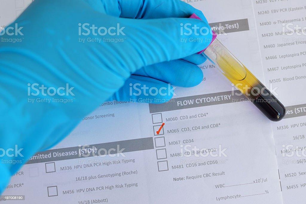 Flow cytometry testing stock photo