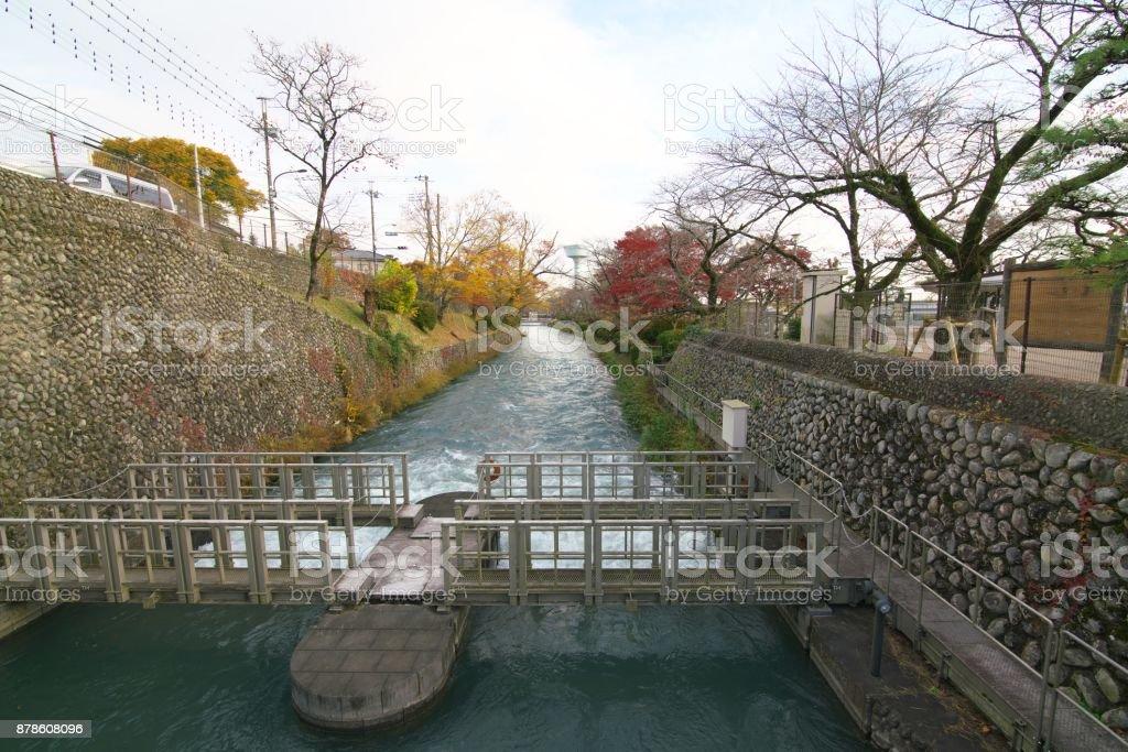 Flow of Tamagawa Josui near Hamura intake weir stock photo