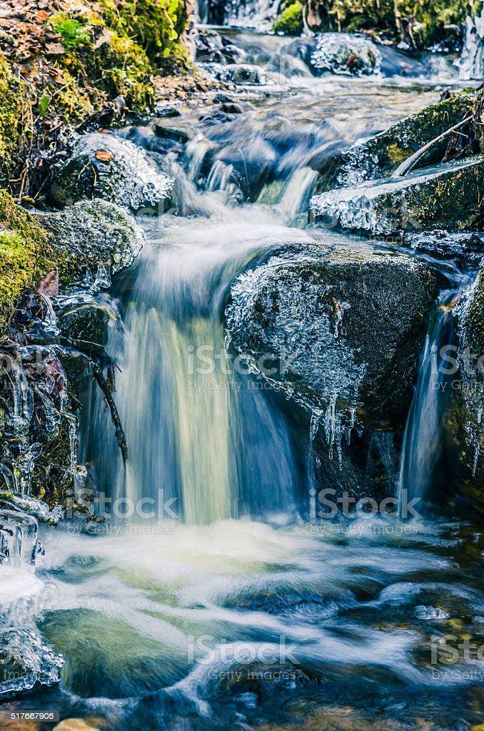 Strom von Wasser im Frühjahr an Eiszapfen und liefern ice – Foto