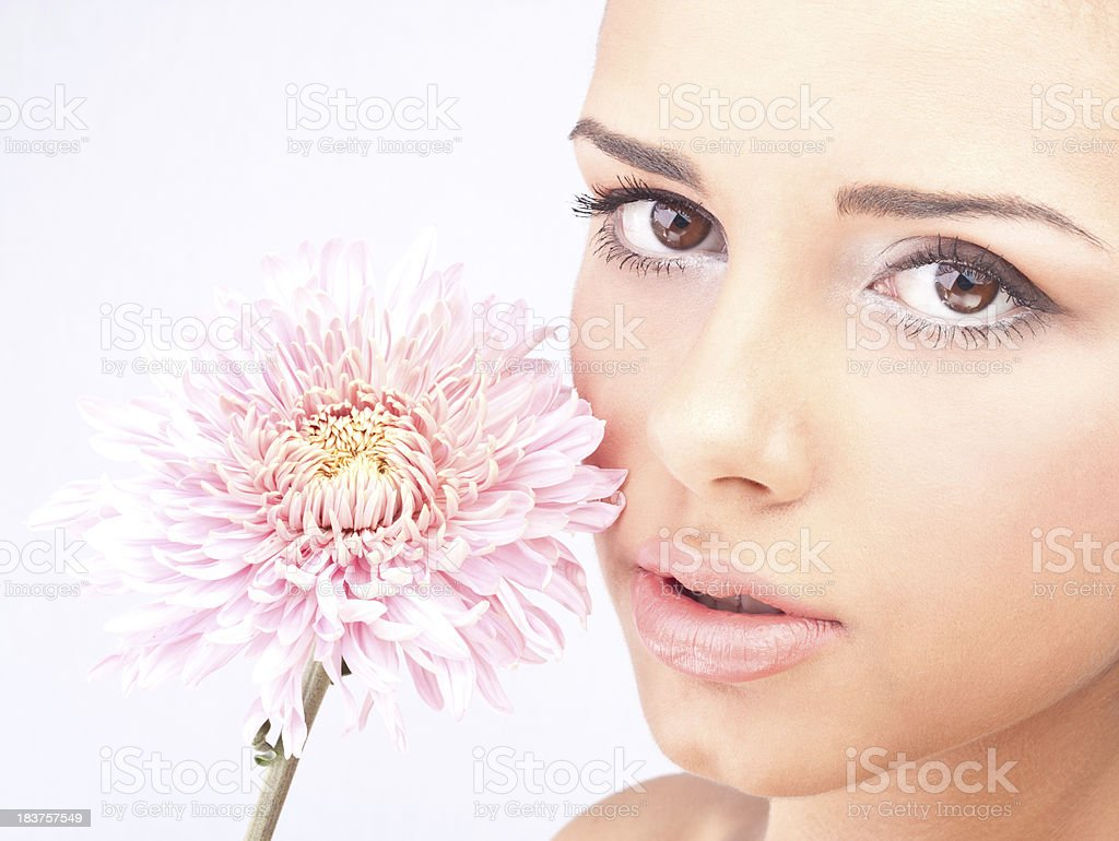 Flower and girl royalty-free stock photo