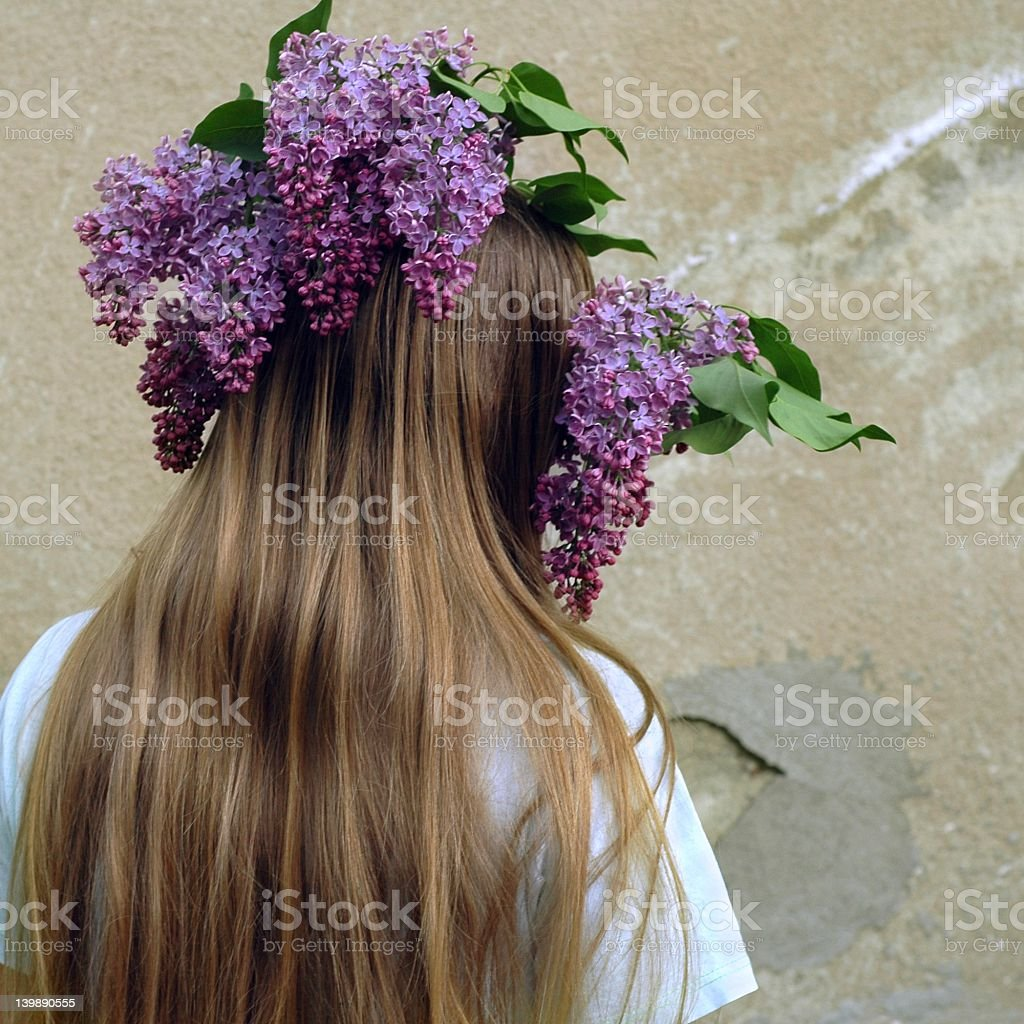 Flower And Hair royalty-free stock photo