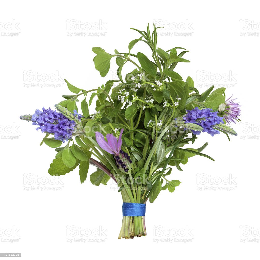 Flower and Herb Leaf Posy stock photo
