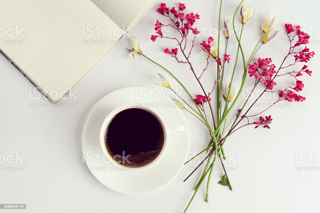 Flower and Notebook, composition flatlay stock photo