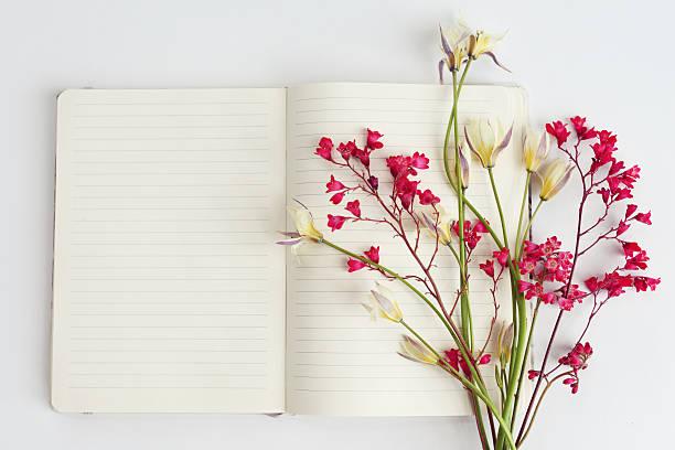 flower and notebook, composition flatlay - folha de caderno imagens e fotografias de stock