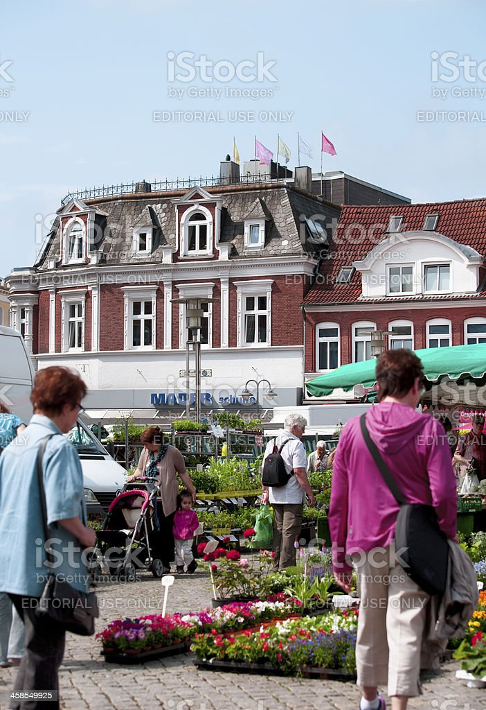 Flower and Vegetables Market in Husum, Schleswig-Holstein royalty-free stock photo