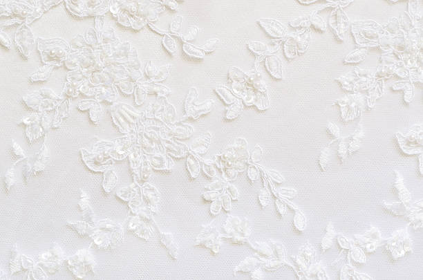 A flower and white lace with pearls White wedding lace for background lace textile stock pictures, royalty-free photos & images