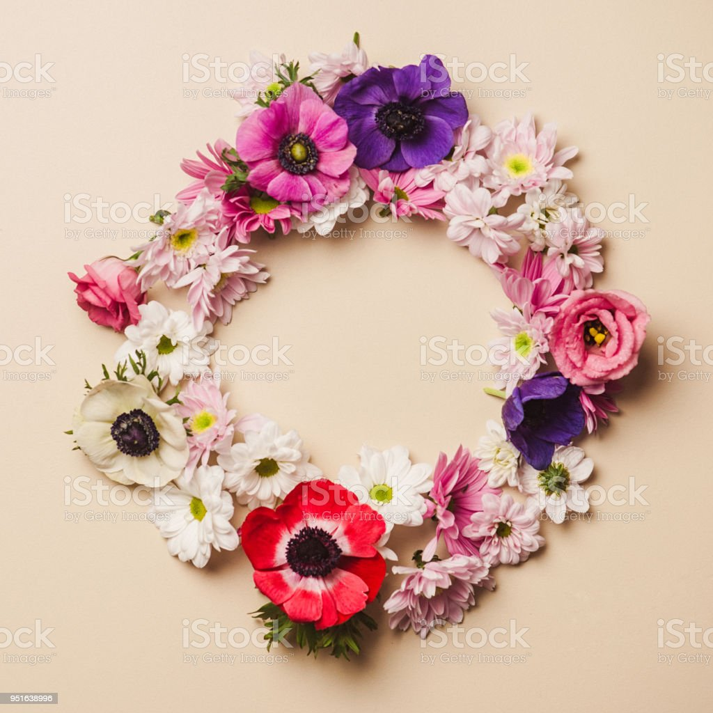 Flower arrangement floral wreath pastel color background stock photo
