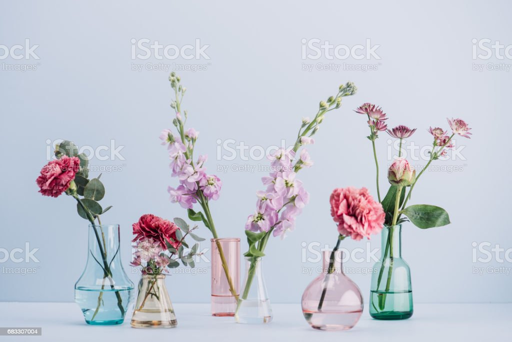 Flower arrangement in pastel stock photo