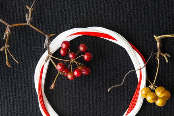 flower arrangement of japanese new year and celebration day - мидзухики стоковые фото и изображения