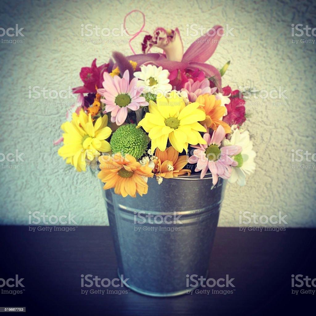 Flower Arrangement In A Metal Bucket Mobilestock Photo Stock Images Page Everypixel