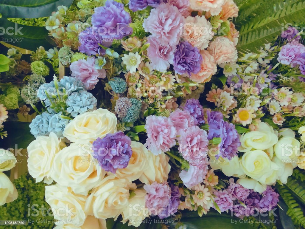 Flower Arrangement Pink Purple Blue Yellow Green And White Colors Stock Photo Download Image Now Istock