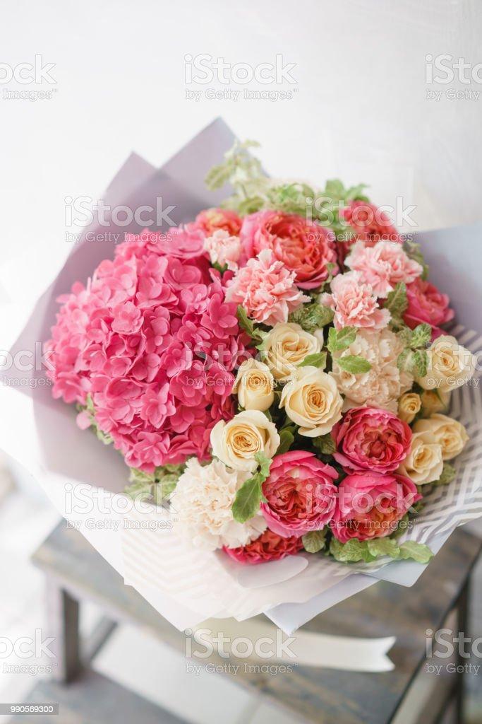 Flower Arrangement With Hydrangea Beautiful Summer Bouquet Color