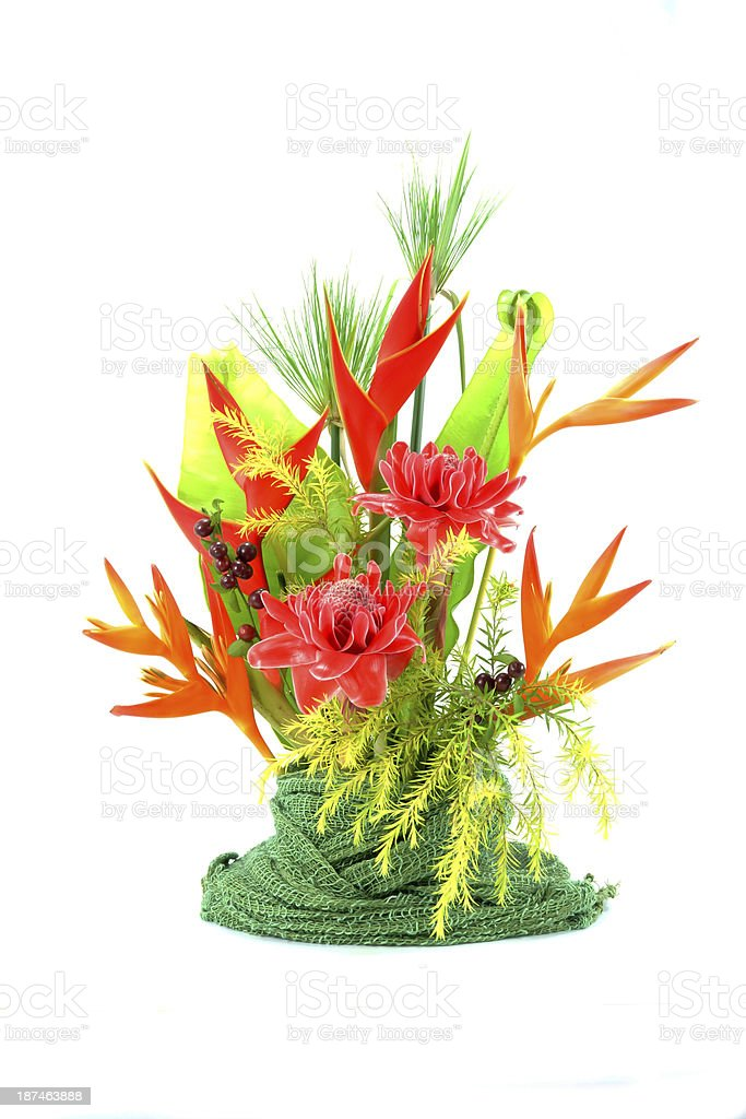 Flower arrangement with tropical flowers. stock photo