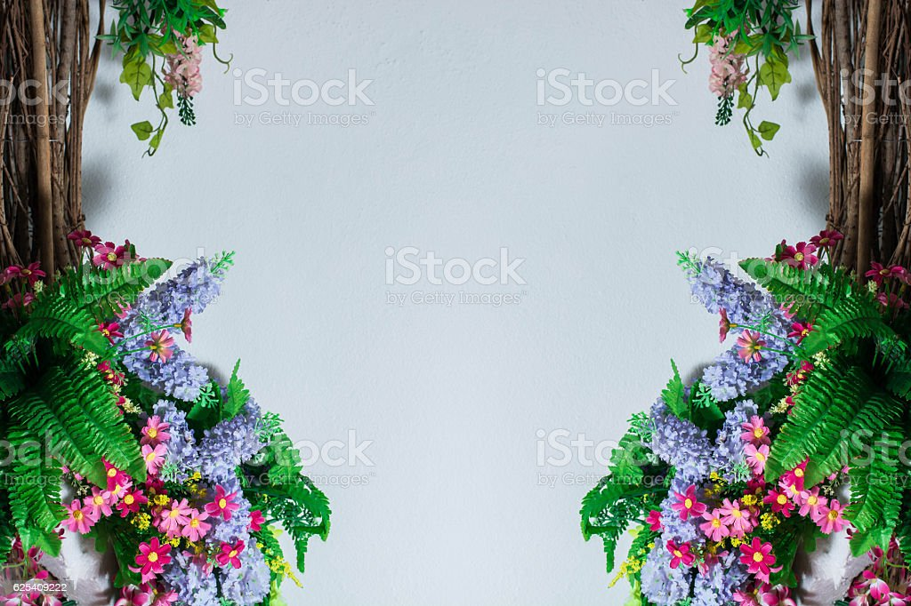 Flower Arrangements on wall stock photo