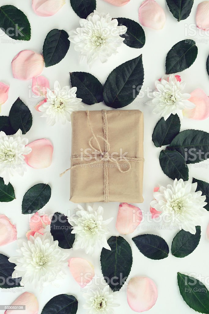 flower background and gift box,composition flat lay