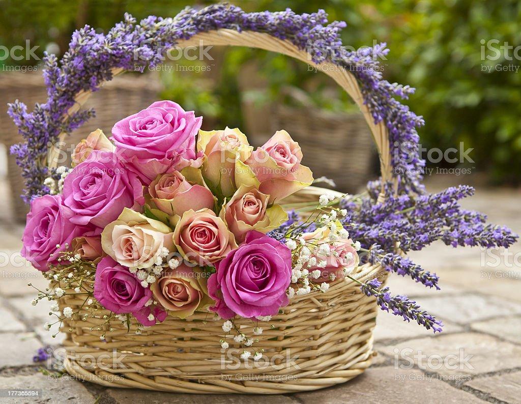 Flower basket stock photo
