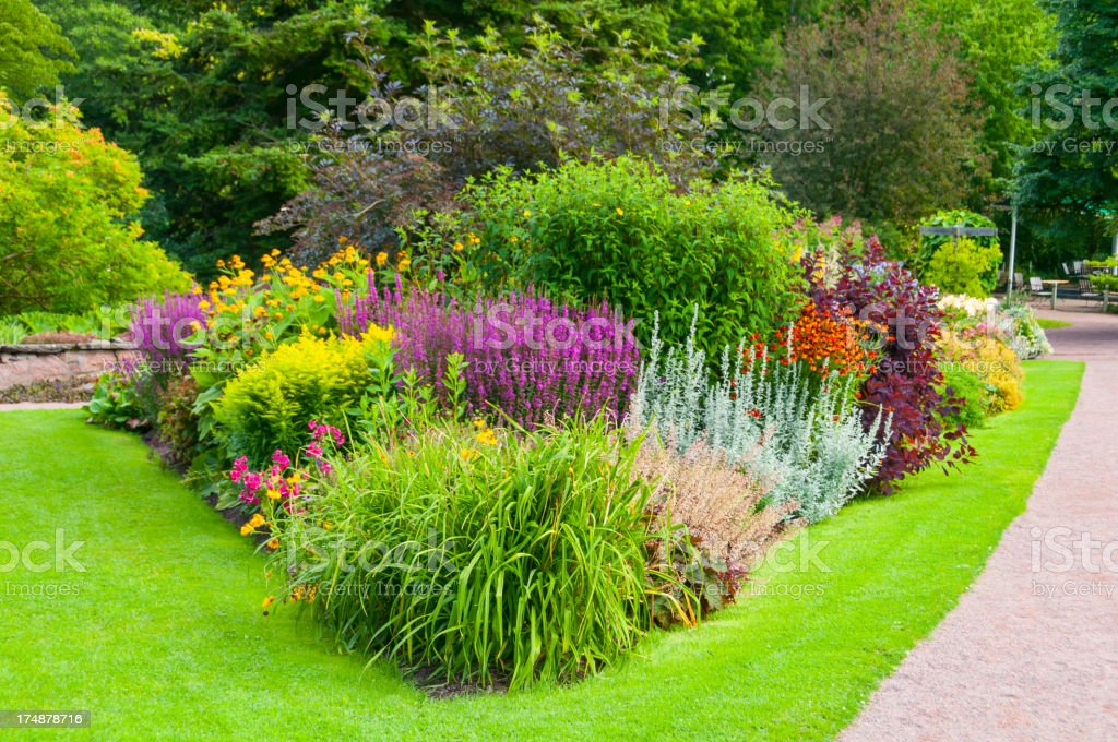 Flower bed and Lawn royalty-free stock photo