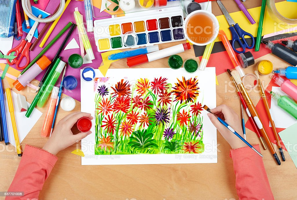 flower bed meadow closeup background, child drawing stock photo