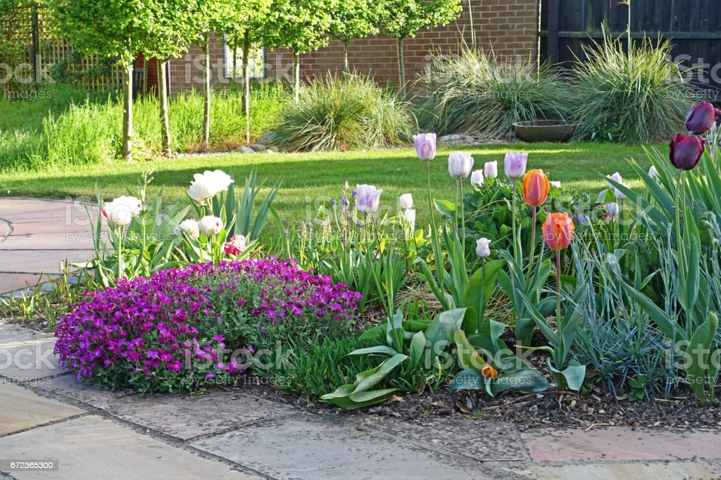 Flower Bed With Spring Flowers In An English Garden Stock Photo