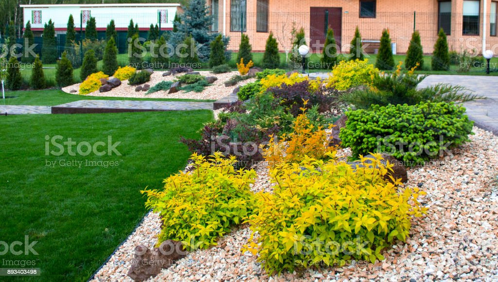 A flower bed with various ornamental plants, strewn with marble chips stock photo