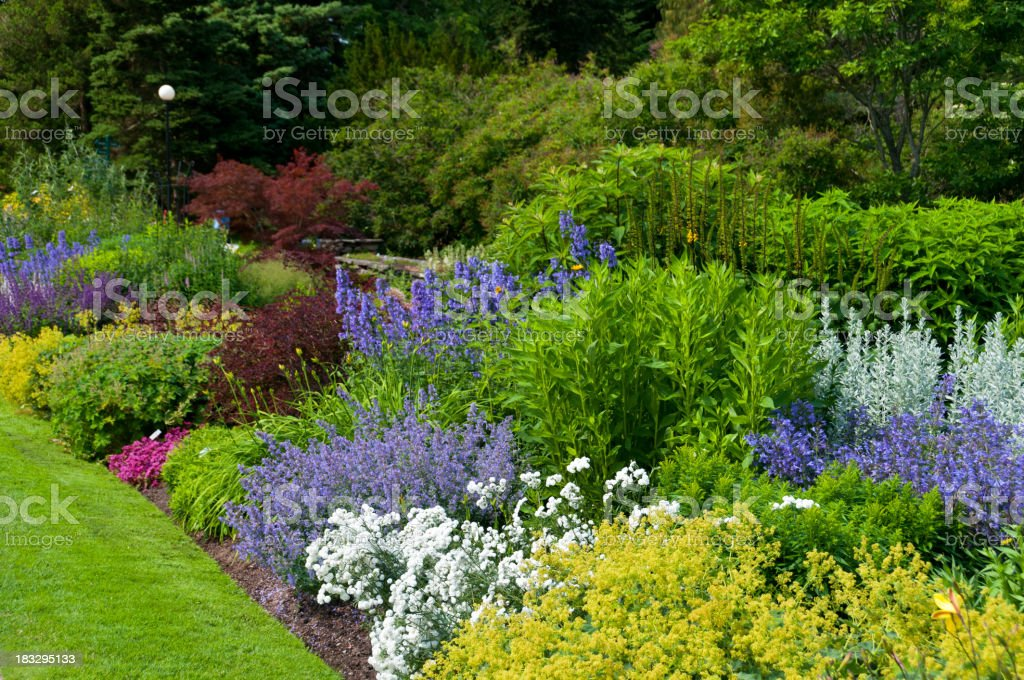 Flower beds and lush foliage royalty-free stock photo