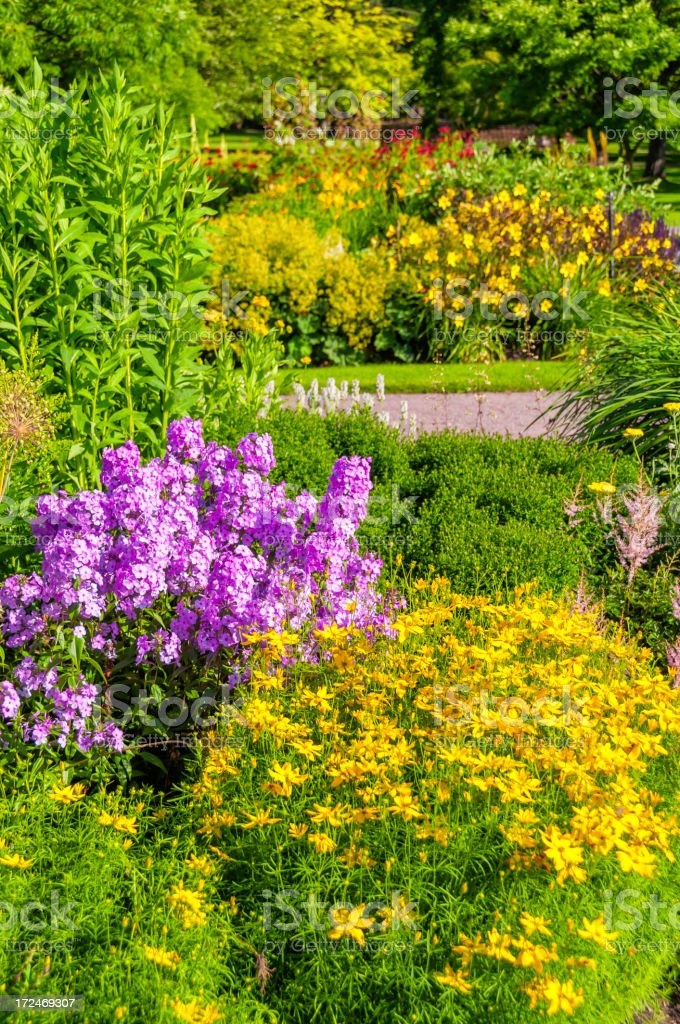 Flower beds in park royalty-free stock photo