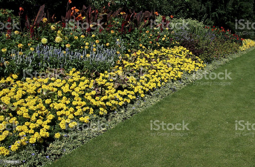Flower Beds - landscaped garden royalty-free stock photo