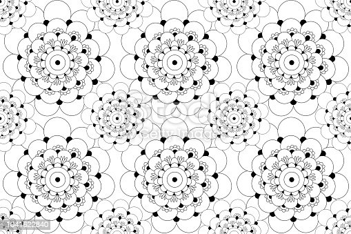 istock Flower black and white seamless pattern 1041622840