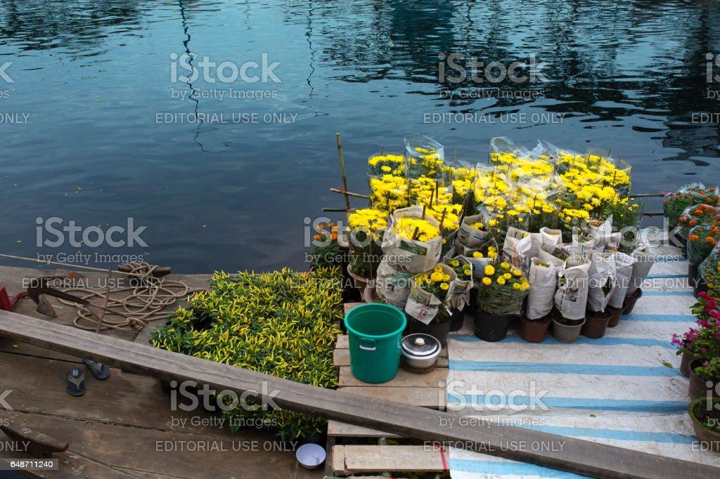 Binh Dong Floating Flower Market.Flower Boats At Flower Market On Binh Dong Wharf At Hcmc Stock Photo