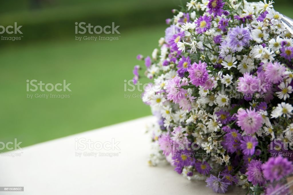 Flower Bouquet for congratulation of university graduate stock photo