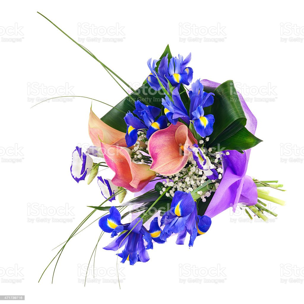 Flower bouquet from iris calla and other flowers isolated stock flower bouquet from iris calla and other flowers isolated royalty free stock photo izmirmasajfo