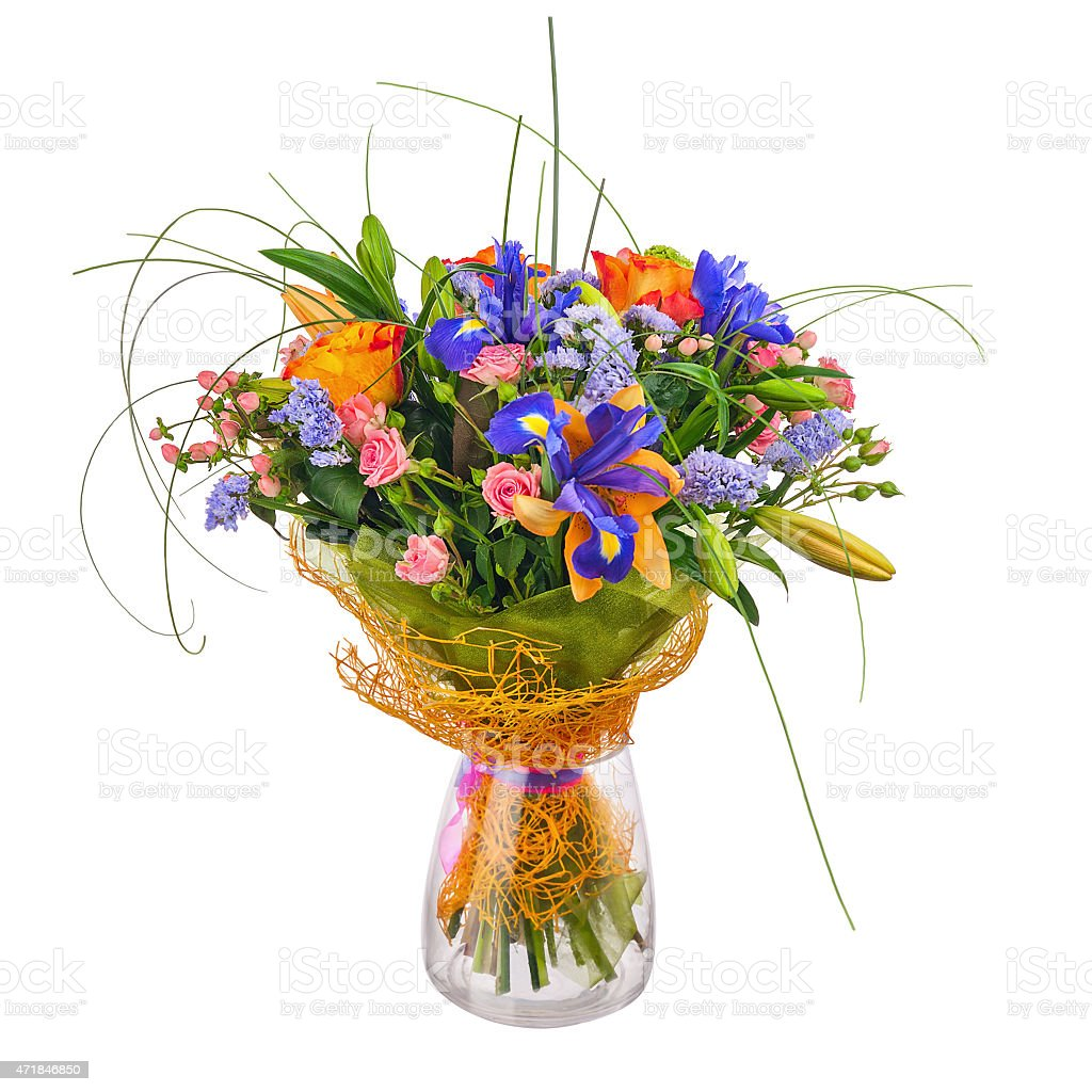 Flower bouquet from roses iris and statice flowers stock photo flower bouquet from roses iris and statice flowers royalty free stock photo izmirmasajfo