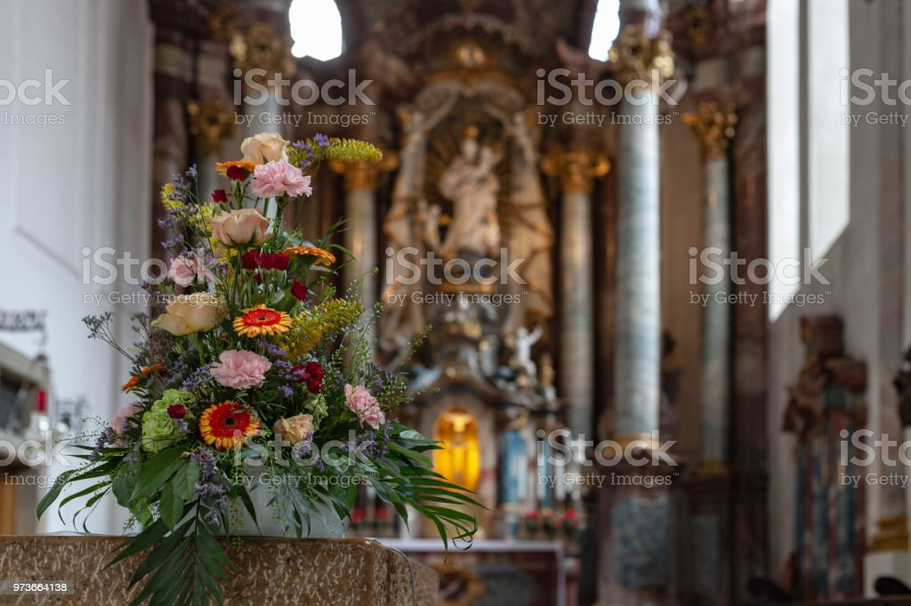 Flower Bouquet In Church Altar Stock Photo Download Image Now Istock