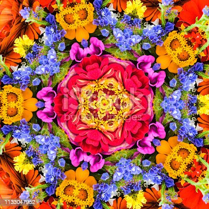 Abstract kaleidoscopic pattern of a  bouquet of a variety of colorful summer flowers,
