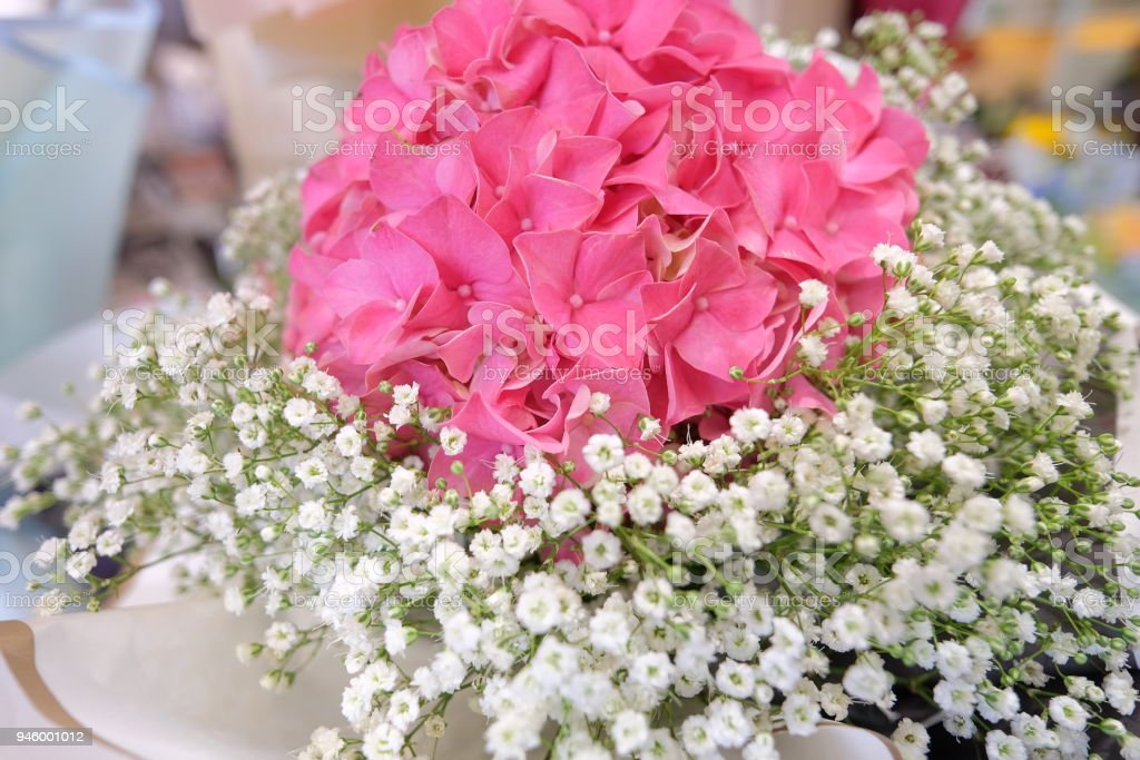 Flower Bouquet With Colorful Gypsophila And Pink Hydrangea ...