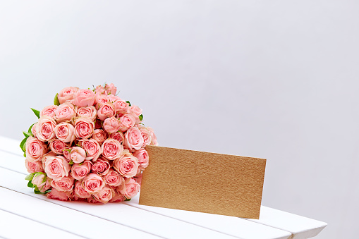 Flower Bouquet With Envelope Stock Photo - Download Image Now
