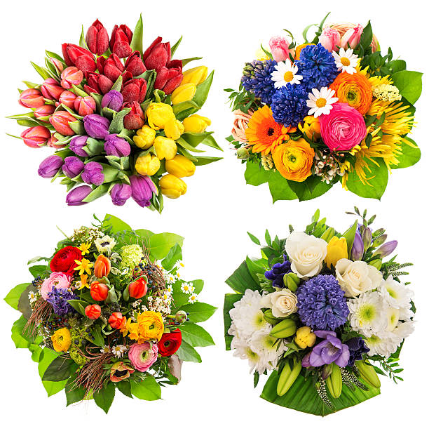 flower bouquets birthday, wedding, mothers day, easter - bouquet stock photos and pictures