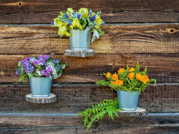 blumensträuße in zinntöpfen gegen eine rustikale holzwand. hochzeit outdoor floristik - zinn hochzeit stock-fotos und bilder