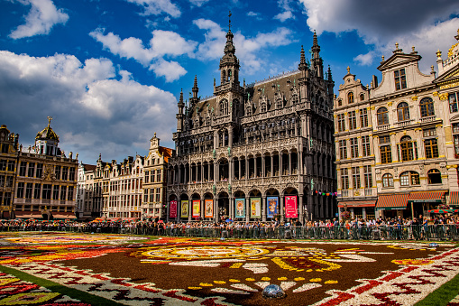 Flower Carpet with Mexican Theme, Grand Place, Brussels, Belgium