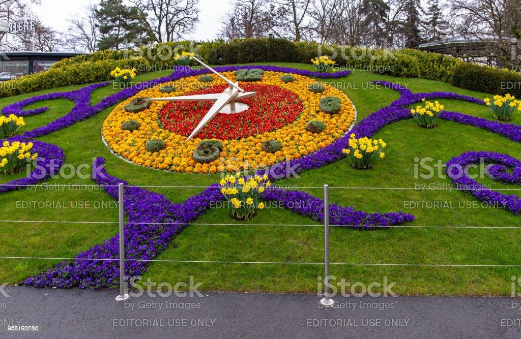 Flower clock in Geneva стоковое фото