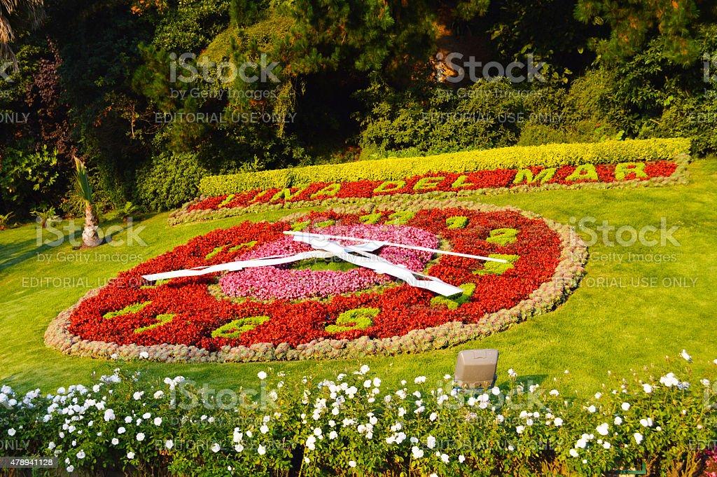 Flower clock in vina del mar stock photo