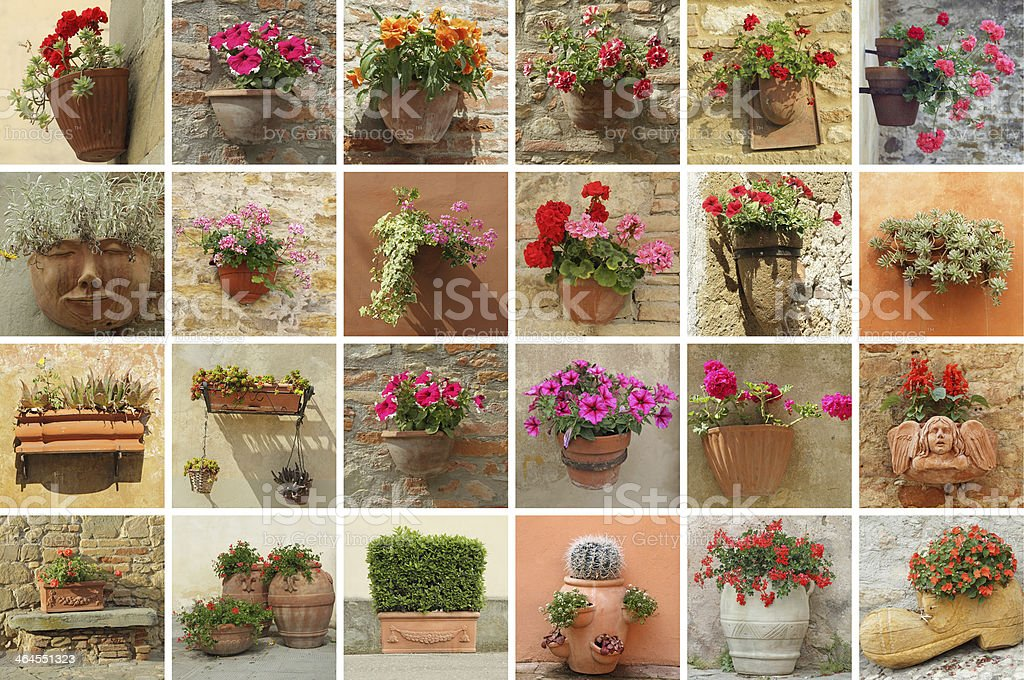 images of various planters with flowers taken in Italy