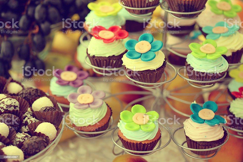 Flower cupcakes stock photo