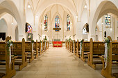 istock Flower decoration in the church before a wedding ceremony 183288728