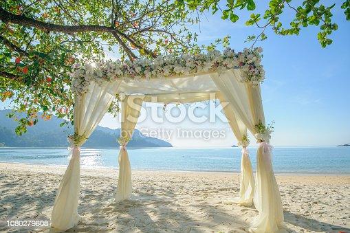 Flower decoration on gazebo for beach wedding